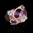 .32ct Diamond Purple and Pink Amethyst and Chalcedony 14k Rose Gold Ring