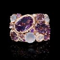Diamond Purple and Pink Amethyst and Chalcedony 14k Rose Gold Ring