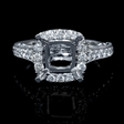 .61ct Diamond 18k White Gold Halo Engagement Ring Setting