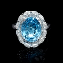 Diamond and Blue Topaz 18k White Gold Ring