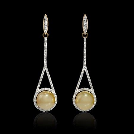 Diamond and South Sea Pearl 14k Yellow Gold Dangle Earrings