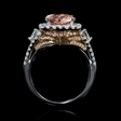 1.18ct Diamond and Morganite 18k Two Tone Gold Ring