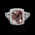 Diamond and Morganite 18k Two Tone Gold Ring