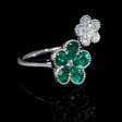 .37ct Diamond and Emerald Antique Style 18k White Gold Floral Ring