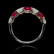 .75ct Diamond and Ruby Round Brilliant Cut 18k White Gold Ring