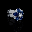 .53ct Diamond and Blue Sapphire 18k White Gold Cluster Flower Earrings