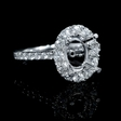 .78ct Diamond 18k White Gold Antique Style Oval Halo Engagement Ring Setting
