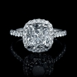 3.14ct GIA Certified Diamond Platinum Halo Engagement Ring