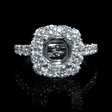 1.32ct Diamond 18k White Gold Antique Style Halo Engagement Ring Setting