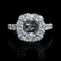 Diamond Antique Style Halo 18k White Gold Engagement Ring Setting