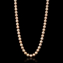 Diamond and Pink Freshwater Pearl Antique Style 14k Rose Gold Necklace