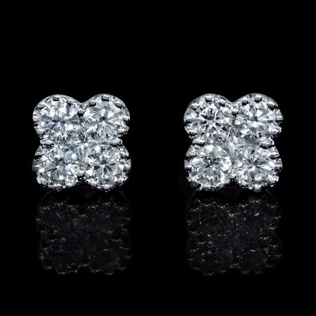 Diamond Antique Style 18k White Gold Cluster Earrings