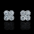 .73ct Diamond Antique Style 18k White Gold Cluster Earrings