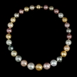 Multi-Colored 18k Yellow Gold Pearl Necklace