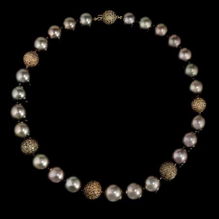 Diamond and Tahitian Pearl Choker 18k Yellow Gold Necklace