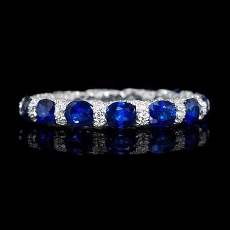 Diamond and Sapphires 18k White Gold Wedding Band Ring