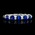 .82ct Diamond and Sapphires 18k White Gold Wedding Band Ring