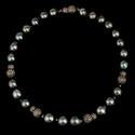 Diamond Tahitian Pearl 18k White Gold and Black Rhodium Necklace