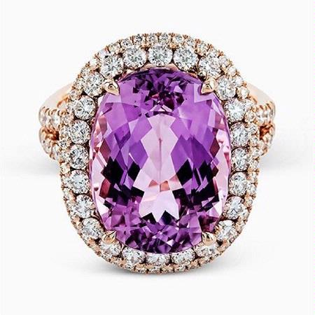 Simon G Diamond and Kunzite 18K Rose Gold Ring