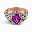 0.49ct Simon G Diamond and Pink Sapphire 18k White and Rose Gold Ring