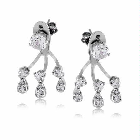 Simon G Diamond 18k White Gold Earrings Jackets