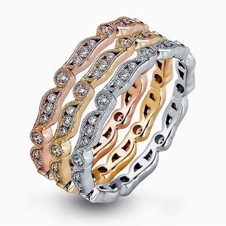 Simon G Diamond 18k Three Tone Gold Eternity Ring Set