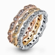 .84ct Simon G Diamond 18k Three Tone Gold Eternity Ring Set