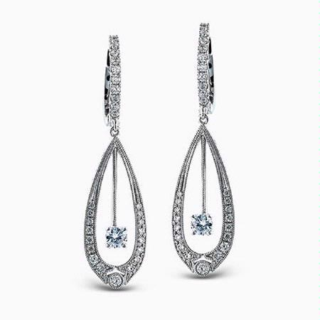 Simon G Diamond 18k White Gold Dangle Earrings