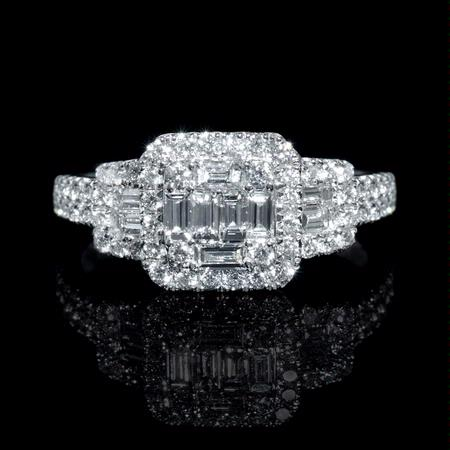 Diamond 18k White Gold Halo Mosaic Engagement Ring