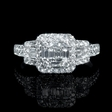 1.05ct Diamond 18k White Gold Halo Mosaic Engagement Ring
