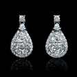 1.09ct Diamond 18k White Gold Dangle Earrings