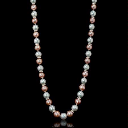 Diamond White South Sea and Pink Freshwater Pearl 18K White Gold Necklace