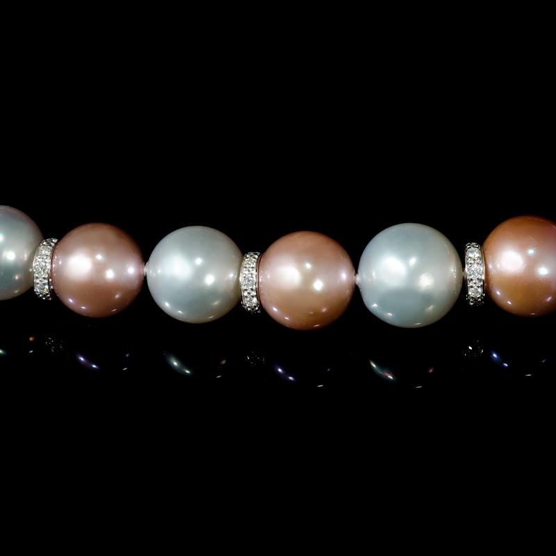 5 50ct Diamond White South Sea And Pink Freshwater Pearl