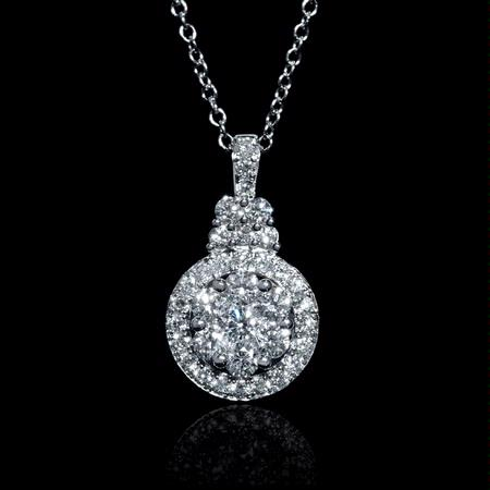 .65ct Diamond 18k White Gold Pendant Necklace