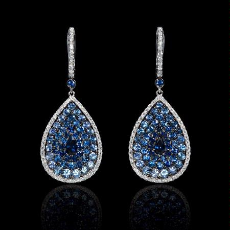 .53ct Diamond and Blue Sapphire 18k White Gold Dangle Earrings