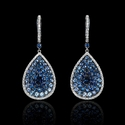 Diamond and Sapphire 18k White Gold Dangle Earrings