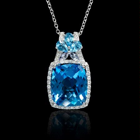 Diamond Blue Topaz and Tanzanite 18k White Gold Pendant Necklace