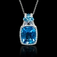 .36ct Diamond Blue Sapphire and Tanzanite 18k White Gold Pendant Necklace