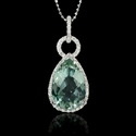 Diamond and Green Amethyst 14k White Gold Pendant Necklace