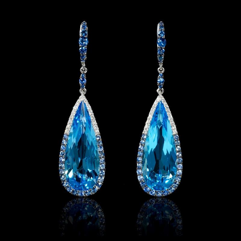Blue topaz earrings white gold