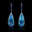 0.34ct Diamond Blue Sapphire and Blue Topaz 18k White Gold Dangle Earrings