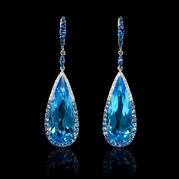 Semi precious stone earrings diamond blue sapphire and blue topaz 18k white gold dangle earrings mozeypictures Gallery