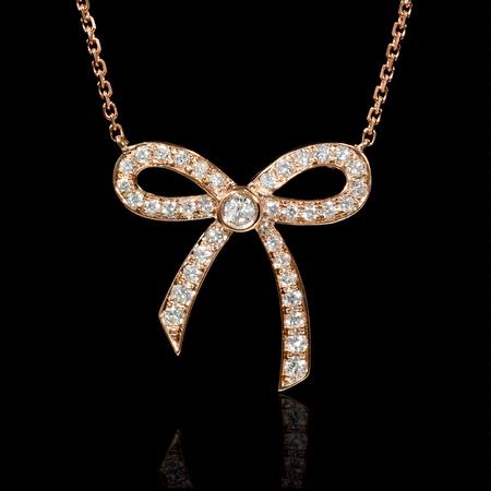 Diamond 18k Rose Gold Bow Pendant Necklace