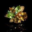 9.65ct Yellow Sapphire Green Garnets, Peridots and Citrine 18k Yellow Gold Ring