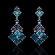 0.08ct Diamond Blue Topaz and Tanzanite 18k White Gold Dangle Earrings