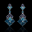 Diamond Blue Topaz and Tanzanite 18k White Gold Dangle Earrings