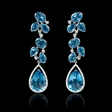 .53ct Diamond and Blue Topaz 18k White Gold Dangle Earrings