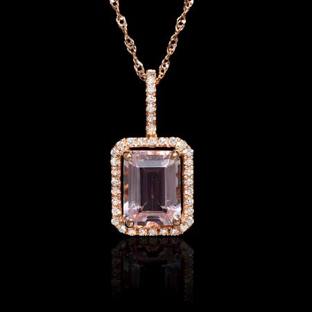 .14ct Diamond and Morganite 14k Rose Gold Pendant Necklace