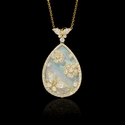 Diamond and Mother of Pearl Antique Style 18k Yellow Gold Pendant
