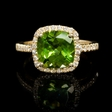 .32ct Diamond and Peridot 18k Yellow Gold Ring